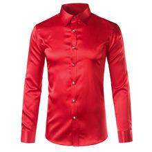 Роскошная атласная Мужская рубашка Королевского синего цвета 2020, брендовые рубашки с кристаллами и пуговицами, мужские рубашки с длинным р...(China)