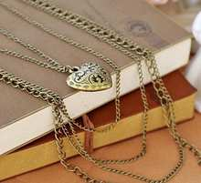 Fashion Multilayer Retro Ellipse Heart Jewlery Girls Long Sweater Chain Necklace