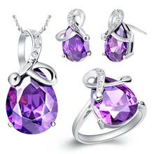 Wholesale 925 Silver Wedding Bridal Jewelry Sets Purple/Blue Crystal Rhinestone Necklace Set Necklace Earrings Ring Set(China (Mainland))