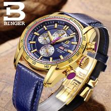 Switzerland watches men luxury brand Wristwatches BINGER Quartz watch Chronograph Diver glowwatch B1163-7