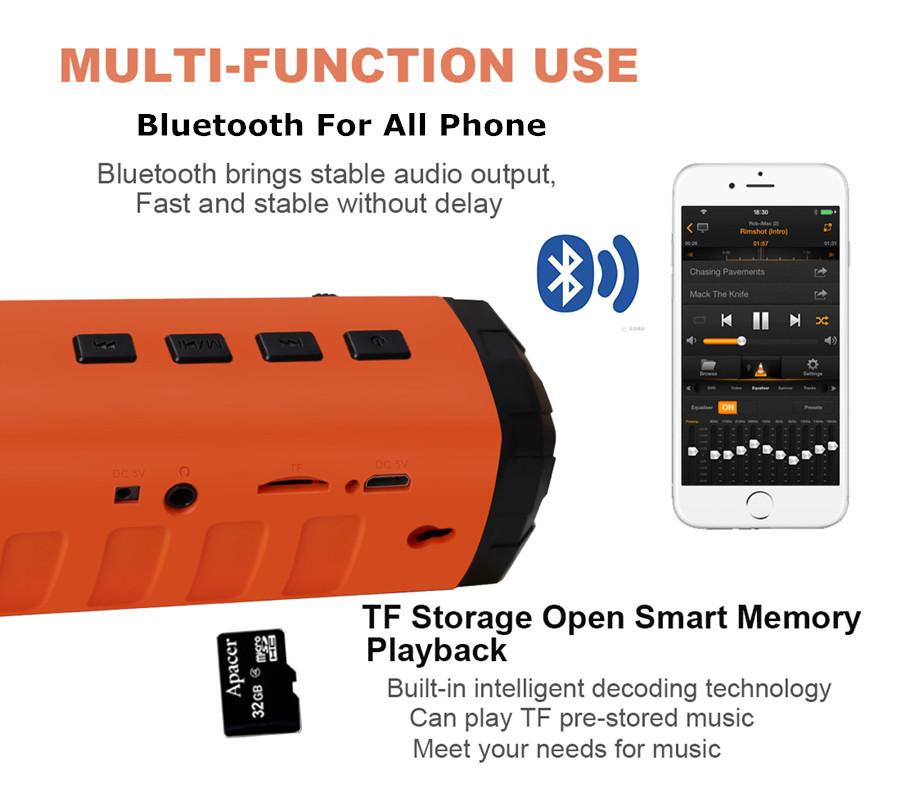 2O17 Outdoor Solar Bluetooth Speaker Multifunction Portable Wireless Speaker LED Flashlight TF Card _
