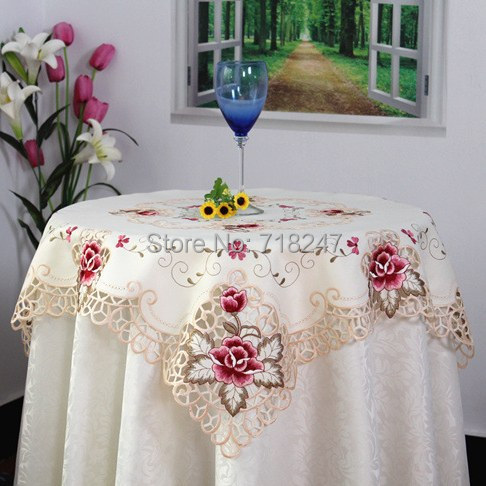 Hot Sale 85*85cm Elegant Polyester Satin Jacquard Embroidery Floral Tablecloths Cutwork Handmade Embroidered Table Cloth Topper(China (Mainland))