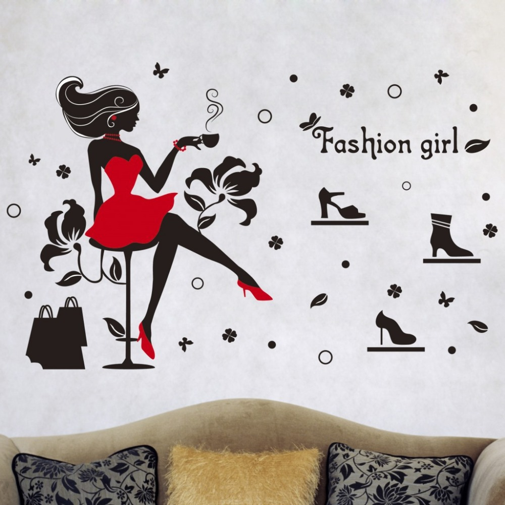 fashion girl vinyl wall stickers for kids rooms living nursery wall decal birds owls squirrels swirly tree
