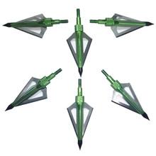 6 Pcs lot Green 100 Grain 3 Removable Blades Cutting Archery Arrowhead Broadhead universal crossbow and