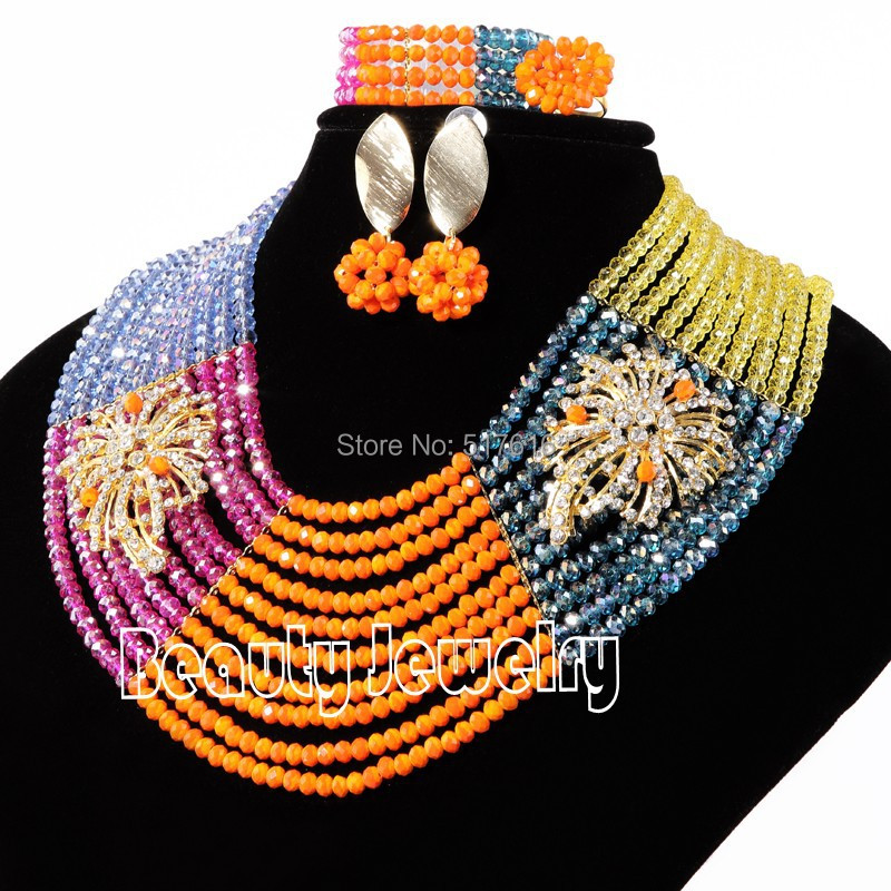 High quality african jewelry set mix colored crystal necklace bracelet earring ring sets with brooches<br><br>Aliexpress