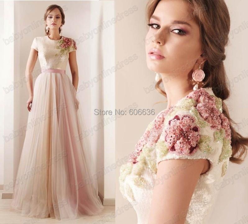 Custom Made Myriam Fares A-Line Round Neck Sequin Tulle Applique Flower luxurious Red Carpet Design Evening Dresses Celebrity - Lilytown's Wedding Store store