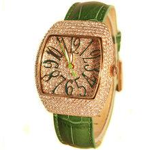 fashion ladies women full diamond genuines leather wristwatch quartz watch