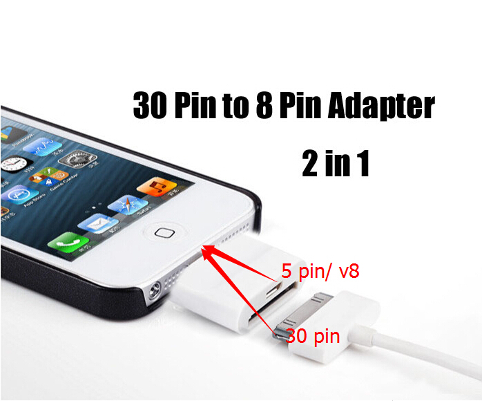 NEW 2 in 1 Mobile Phone Adapters For iPhone 5/5S/5C to for iPhone 4/4s or Samung Micro USB; IOS 7.1, 8 pin to 30 pin/V8 Adapter