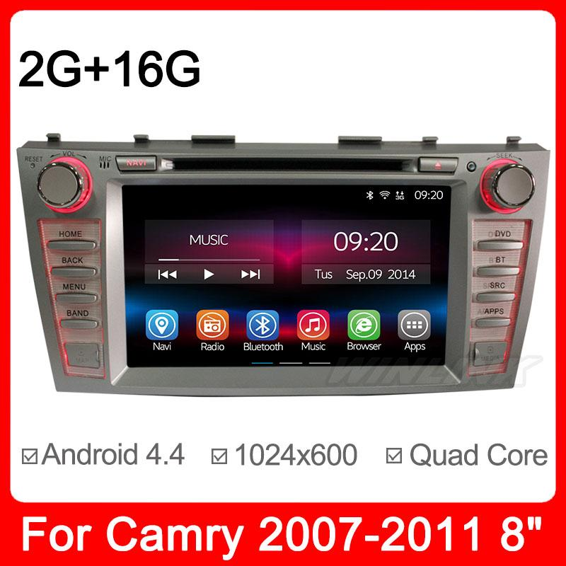 8'' Capacitive Screen Pure Android 4.4.2 Car GPS Navigation for Toyota Camry 2007-2011 DVD RADIO BT IPOD 3G Wifi A9 Quad Core(China (Mainland))