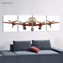 4Pcs/Set Airplane Canvas Painting Quadro Home Decoe Cuadros Decoration Wall Pictures For Living Room Modern Picture2016No Frame(China (Mainland))