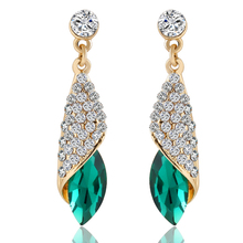 2015 Luxury Brand Jewelry Fashion Statement  Crystal Earrings 4 Colors Rhinestone Water Drop Elegant Charm Earring Brincos PD23(China (Mainland))