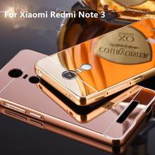 Hot Sale For Xiaomi Redmi Note 3 Case Luxury Mirror Metal Aluminum+Acrylic Hard Back Cover For Redmi Note3 Fundas Accessory Capa