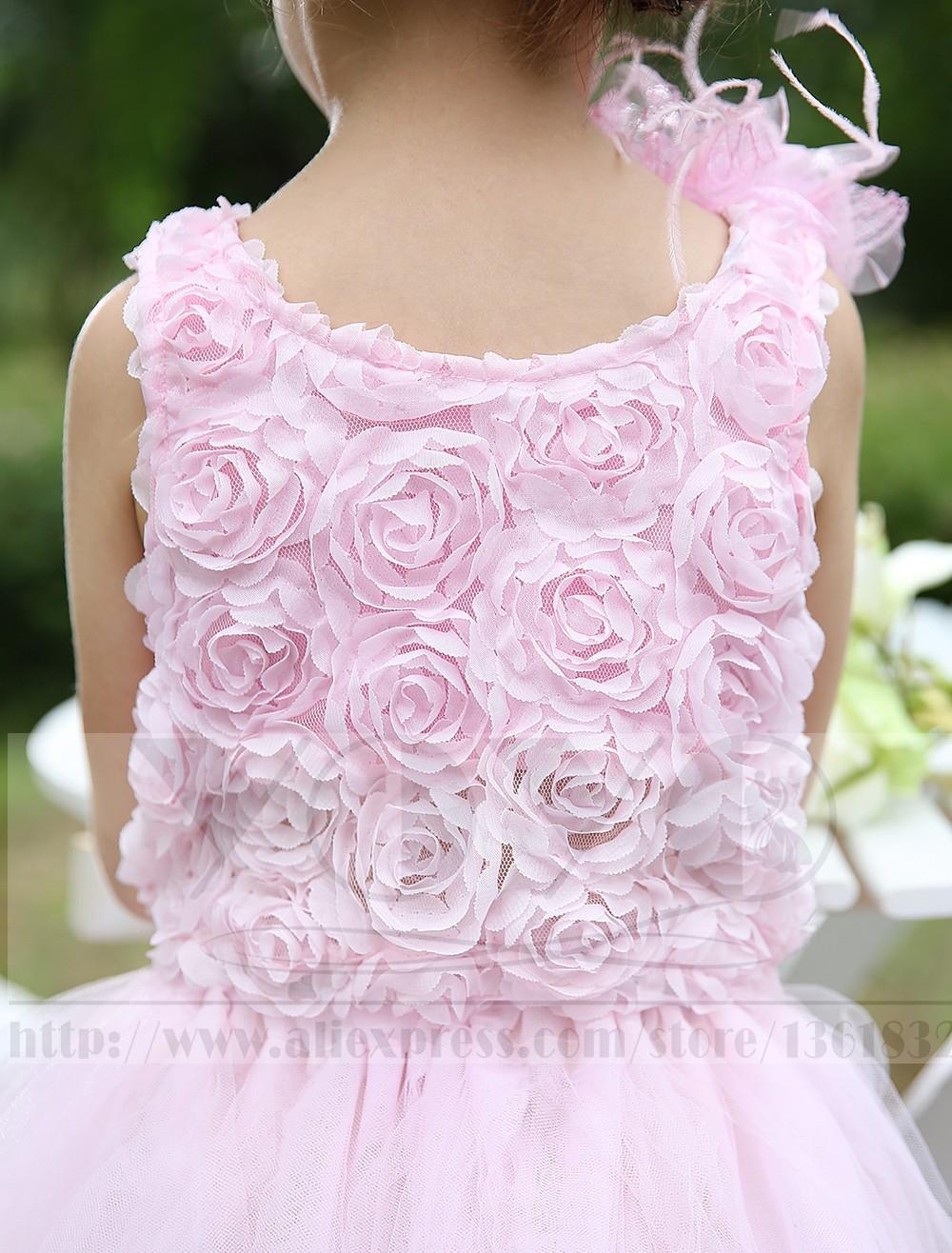Скидки на Элегантный тюль бледно-розовый детей платья аппликациями цветы девушки дети формальные торжества платья [ головной убор входит ]