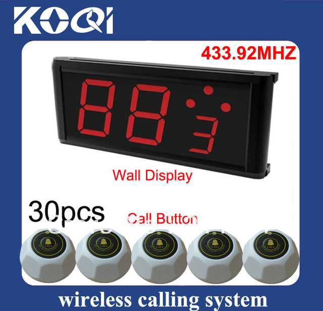 433.92mhz wireless nurse call system with 1pc call center display pager and 30pcs nurse call press button DHL free shipping free