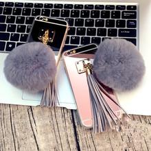 For Huawei P9 plus P8 Lite P9 Luxury Soft Plush Gray Real Rabbit fur pompom Fluffy Tassel Mirror Phone Back Cover()