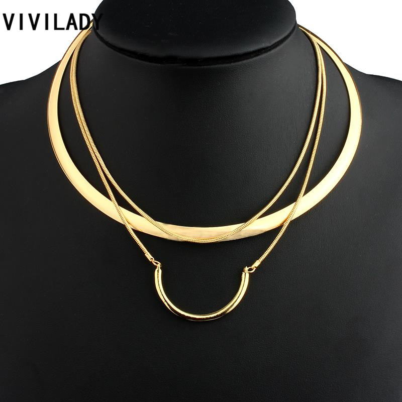 VIVILADY Fashion Hot Gold Color Metal Layer Chain Round Collar Necklaces Women OL African Jewelry Bohemian Style Costumes Gifts