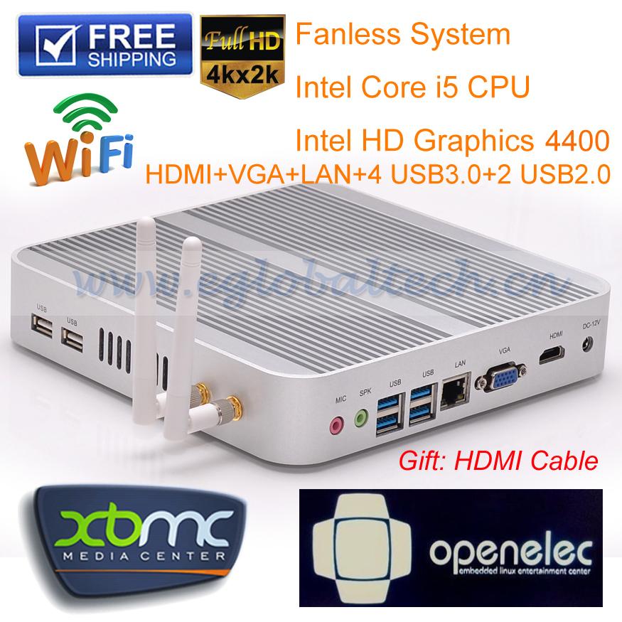 DHL free Fanless Intel Core i5 4200U Barebone Mini pc desktop computer, 4K HD,HTPC,WIFI,USB.3.0, Windows 7 with 3 Year warranty(China (Mainland))
