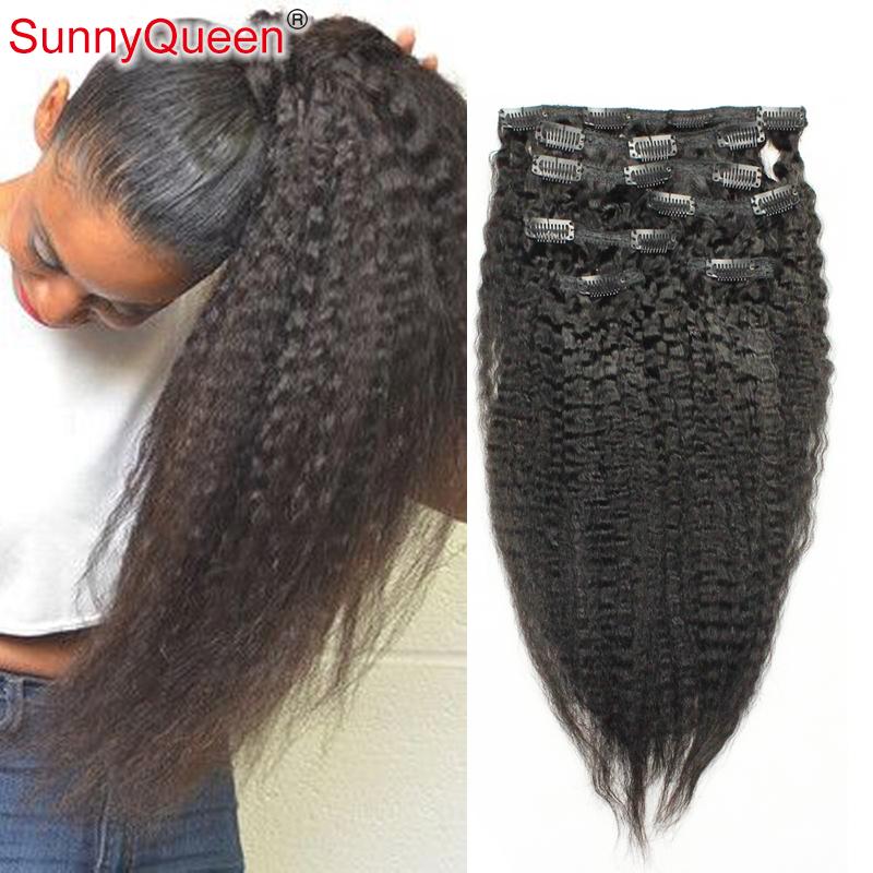 Фотография Clip In Human Hair Extensions Peruvian Virgin Hair 7 pcs Natural Hair Clip Extensions 120g/set  Human Hair Clip In Extensions
