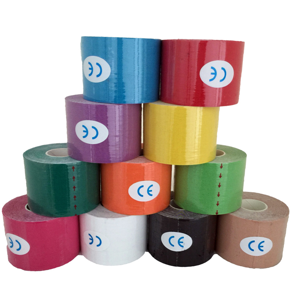 Muscle Bandage Strain Injury Support Tape Random Send 5CM*5M Sports Tape Kinesio Muscle Strain Injury Cotton Elastic Adhesive(China (Mainland))