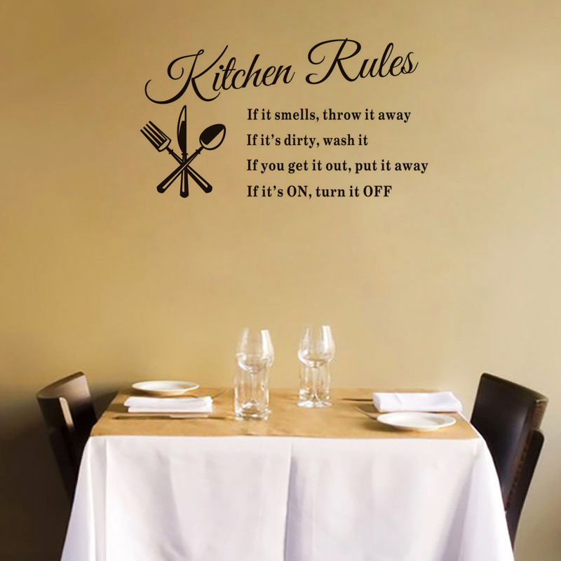Creative Quote Warming Kitchen Rules  DIY Home Decor Removable Wall Decal  Decorative Adesivo De Parede Removable Sticker DC2511