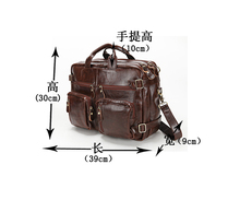 Man 100% Real Genuine Leather Bags Men's Business Briefcase Laptop Bag Men Travel Bags Fashion Men Messenger Bag Casual Handbag(China (Mainland))