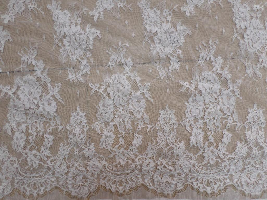 3meter pc bridal wedding french lace fabric ivory white for White lace fabric for wedding dresses