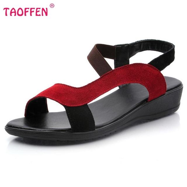 TAOFFEN качество бесплатная доставка плоским пряжки богемии сандалии женщин сексуальные ...