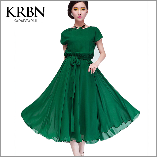 womens Summer Dresses 2015 Women Dress chiffon maxi Dress Party Casual plus size short sleeve ruffles solid green dress A1020(China (Mainland))