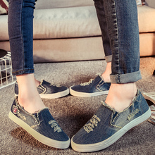 2016 breathable lovers denim canvas shoes female dawdler wrapping foot canvas shoes female single shoes