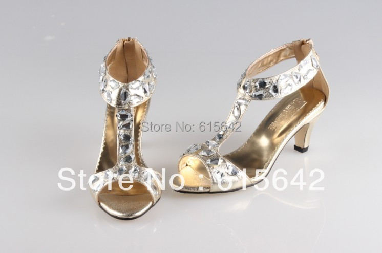 SH037 custom make low heel gold party sandals crystal,evening shoes - bridal wedding shoes,party shoes,evening store