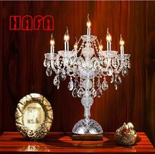 7 головки luxruy E14 свеча кристалл настольная лампа моды кристалла настольная лампа гостиная лампы спальни лампа K9 топ кристалл таблица(China (Mainland))