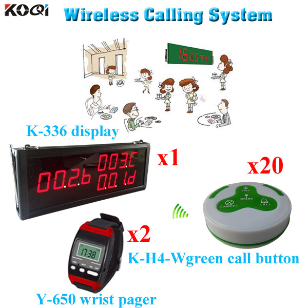 Wireless Ordering System Restaurants Star King Pager Fast Food Equipment (1pcs display 2pcs wrist watch 20pcs call button)(China (Mainland))