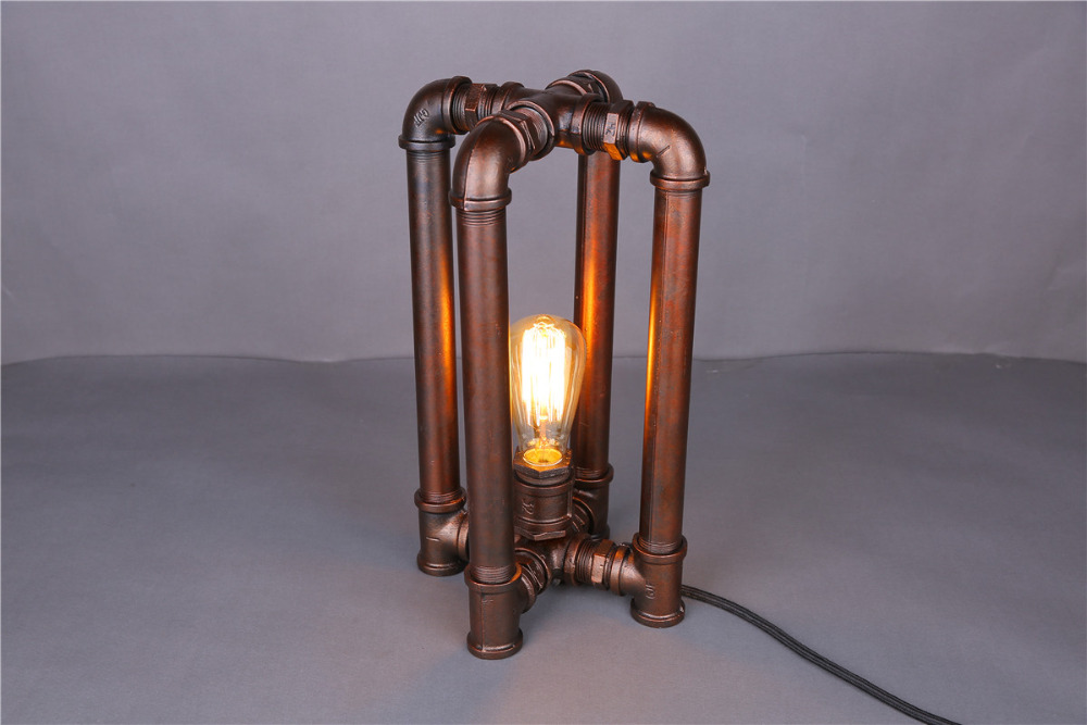 4 Legs Edison Lamp Bulb Vintage Table Lamps Personalized Water Pipe Table Lights Desk Book Lamp E27 110V-240V Vintage Lighting(China (Mainland))