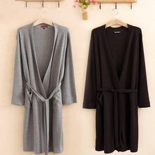 Free shipping Spring and summer waffle 100% cotton long-sleeve toweled lovers sleepwear bathrobes robe(China (Mainland))