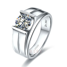Luxury supply 925 silver 1 carat sona Simulated Diamond Engagement Rings for men, diamond wedding promise ring men ,men's rings(China (Mainland))