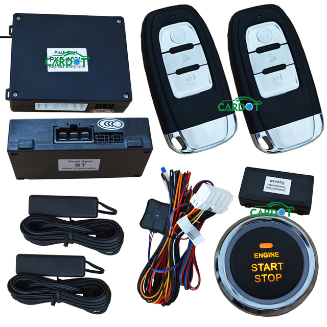 passive car alarm with morse code protection push start stop button smart keyless car central lock or unlock