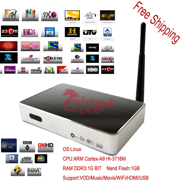 Free Shipping Better Then Mag 250 Iptv Indian Channels Can Watch All Famous Indian Live HD Program ,IPTV With Linux System(China (Mainland))