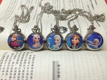 1pcs Lovely kids Cute Princess Anna Elsa Cartoon Watch Children Pocket Watch High Quality quartz Chain Necklace watch