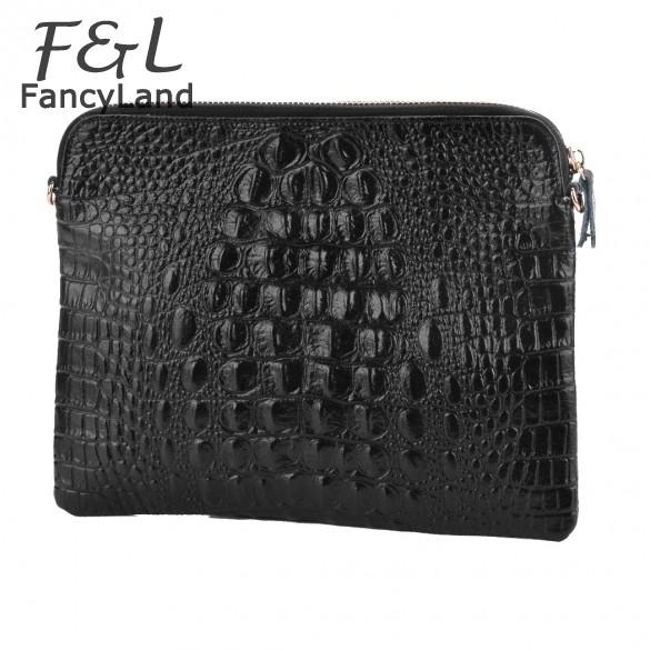 Discount 2014 New Fashion Women's Genuine Leather Messenger Bag Envelope Bag Day Clutch Purse Evening Bag 12(China (Mainland))