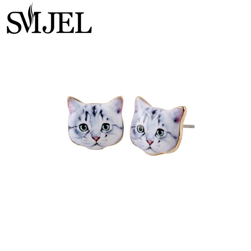 2016 New 3D Cat Earrings Arrival Fashion Cute Animal Head Stud Women white OED006  -  yuki ho's store store