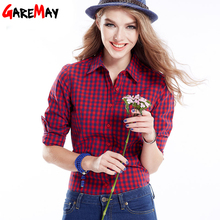 Women's Cotton Shirts Blouses Blusas In Spring 2016 Cotton Women Females Long Sleeve Slim Plus Size Plaid Shirt Blouses Clothing(China (Mainland))
