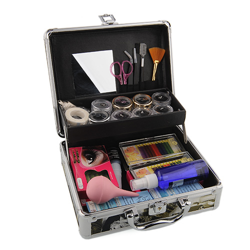 Professional Salon Full Set Eyelashes Extension Kit Include: Loose Curl Colorful Fake Eyelash Glue Cleaner