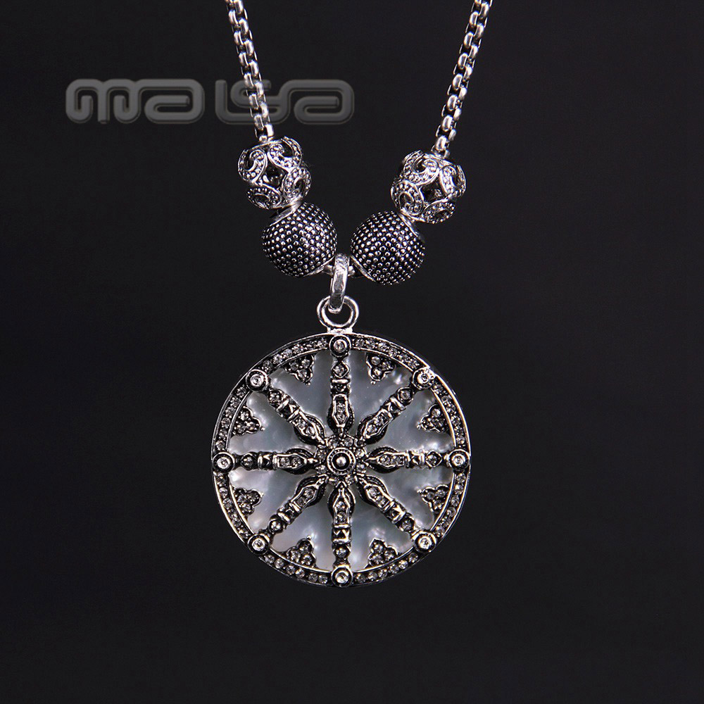Thomas Wave and  Karma Bead and Wheel Pendant Necklace in 925 Silver, European TS Style Fine Jewelry for Women<br><br>Aliexpress