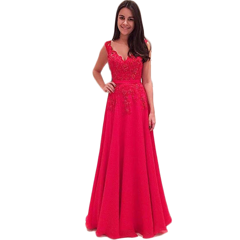 Elegant Red Backless Evening dress Chiffon V Neck Formal Dresses Party Evening Gowns Vestidos De Fiesta(China (Mainland))