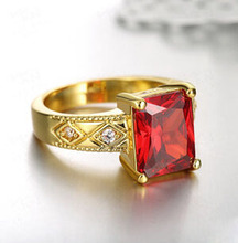 Antique Style Cz Cubic Zirconia Yellow Gold Plated Engagement Bridal Wedding Ring Ruby CZ Engagement Wedding