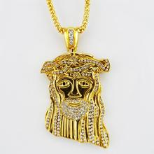 2015 New Jesus Piece Pendant Hip Hop Long Necklace 24K Gold Plated High Quality Crystal Fashion