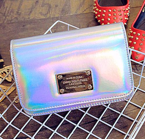 2016 мода мини лазерный письма счастья искусственная кожа клатч портмона цепи сумка через плечо сумочка 6 цвета