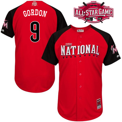 Good Quality Men's Miami Marlins Jersey #9 Dee Gordon Red 2015 All Star National Baseball Jersey 100% Stitched sewn,mix order