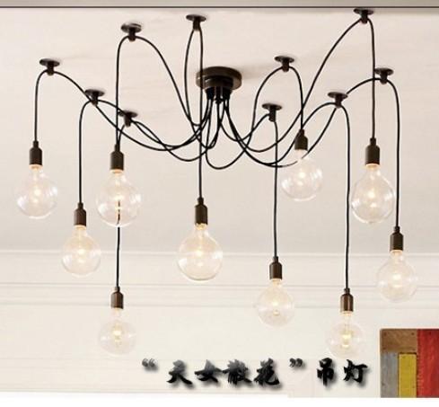 lustres r tro classique e27 araign e lampe pendentif ampoule groupe de support edison lampes d. Black Bedroom Furniture Sets. Home Design Ideas