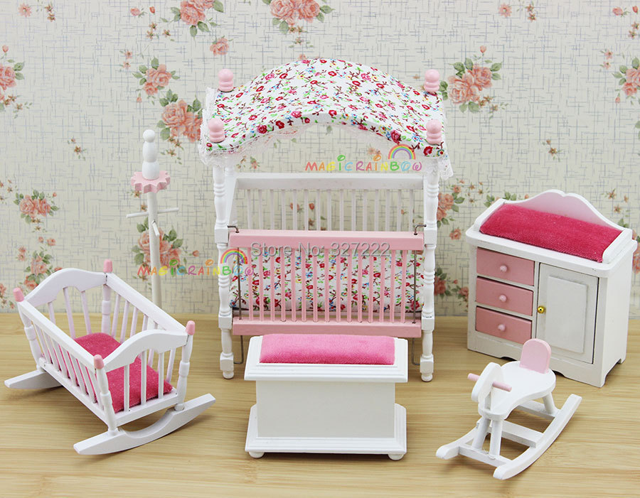 Pink Kids Bjd Doll House Bedroom Furniture Wooden Toys Bed Cradle Rocking Horse Baby 1 12 scale Dollhouse Miniatures 6PC set(China (Mainland))